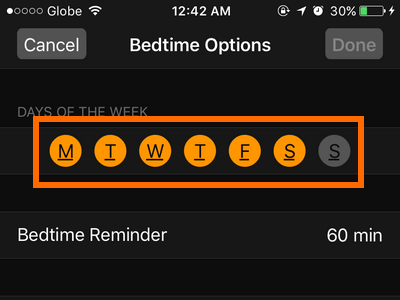 iphone-clock-bedtime-choose-days