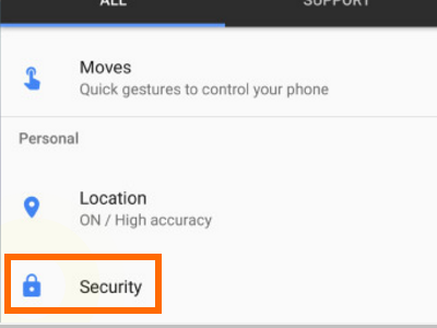 tap-on-settings-security