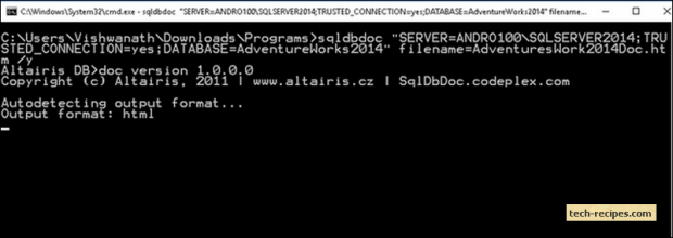 db_doc_sql_server_documentation_generator_windows_auth