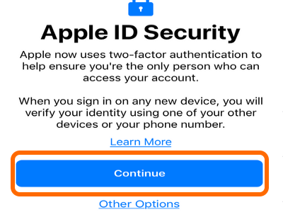 Continue Button Apple ID
