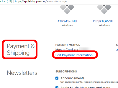 Edit Payment Information
