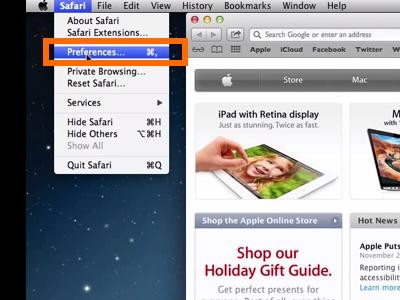 Mac OS X Mavericks Finder Safari Preferences