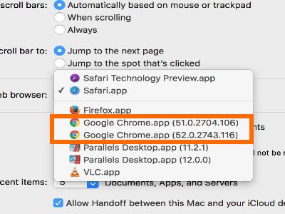 Mac OS X Yosemite Home Screen Apple Menu System Preferences General Default Web Browser Chrome