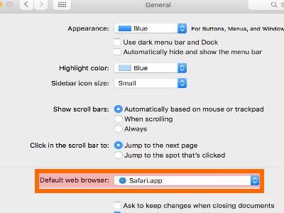 Mac OS X Yosemite Home Screen Apple Menu System Preferences General Default Web Browser