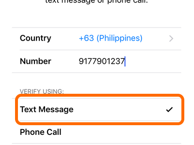 Text message Apple ID Verification