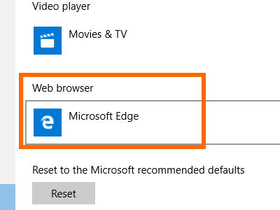 Windows 10 Start Menu Settings System Settings Default Apps Web Browser