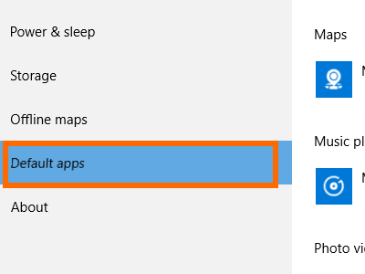 Windows 10 Start Menu Settings System Settings Default Apps