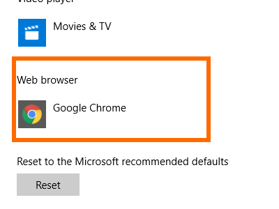 Windows 10 Start Menu Settings System Settings Default Web Browser is Chrome