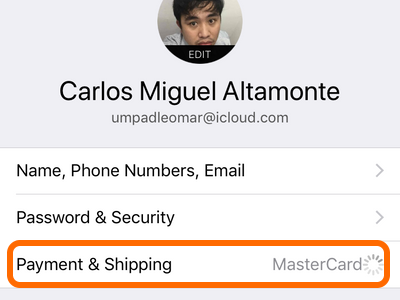 iPhone Settings Apple ID Payment and Shipping Address