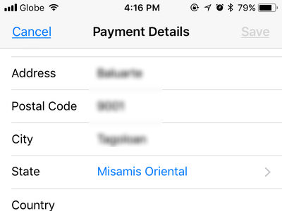 iPhone Settings Change Payment Details