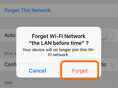 iPhone Wi-Fi Network Details Forget Button