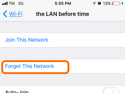 iPhone Wi-Fi Network Details Forget Network