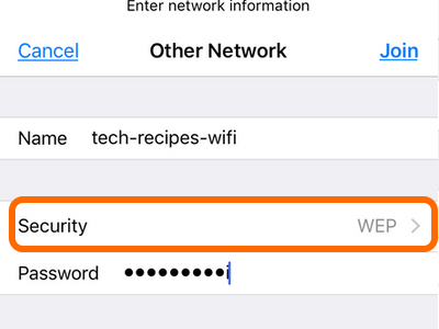 iPhone Wi-Fi Other network Choose Security
