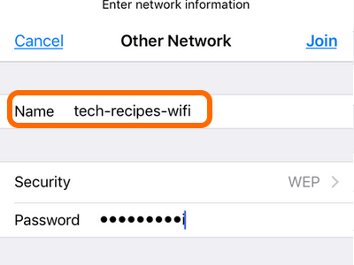 iPhone Wi-Fi Other network Enter Name