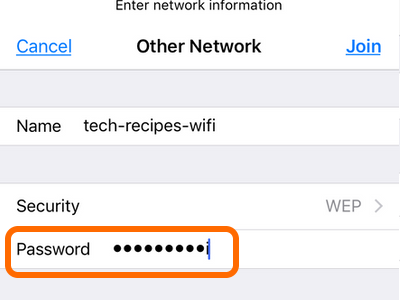 iPhone Wi-Fi Other network Enter Password