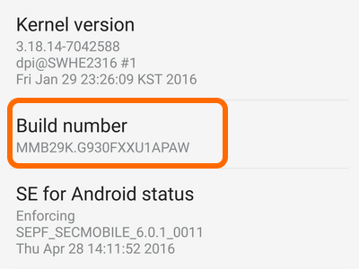 Android Home Settings Build Number