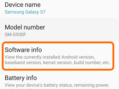 Android Home Settings Software Info