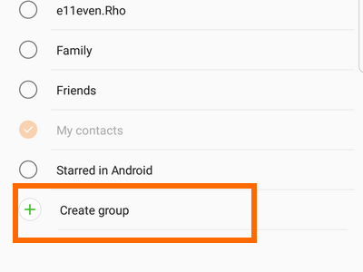 Android S7 Create Contact Group