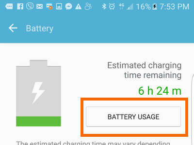 Android Settings Battery Usage