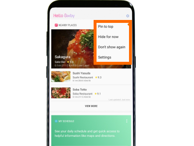 Bixby Cards Options