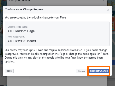 Change Facebook Page Name Dialog Request Change Button