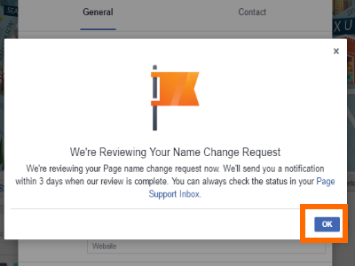 Change Facebook Page Name OK Button