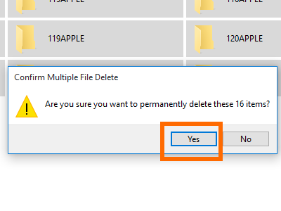 Computer iPhone Storage Drive internal DCIM Select All Folders Confirm Delete ALL