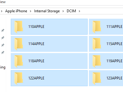 Computer iPhone Storage Drive internal DCIM Select All Folders