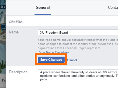 Facebook Change Page Name Save Changes