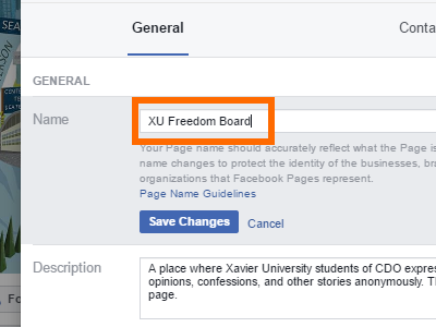 Facebook Change Page Name