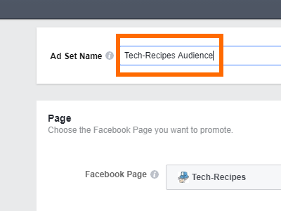 Facebook Create Ad Choose Ad Set Name