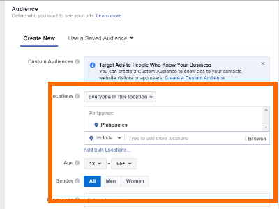 Facebook Create Ad Choose Audience Specifics