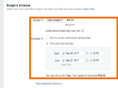 Facebook Create Ad Choose Budget Schedule