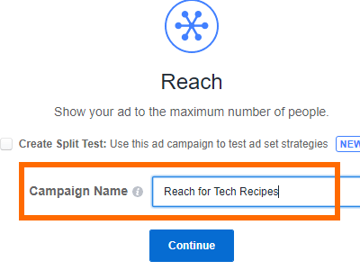 Facebook Create Ad Choose Campaign Name