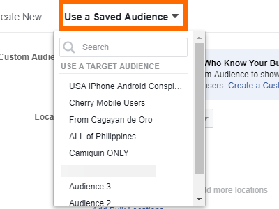 Facebook Create Ad Use Saved Audience