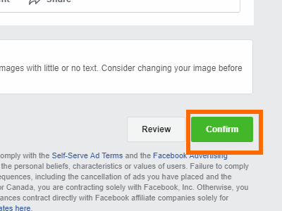 Facebook Create Ad confirm Ad