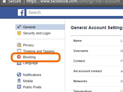 Facebook Drop Down Menu Settings Blocking