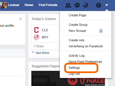 Facebook Drop Down Menu Settings