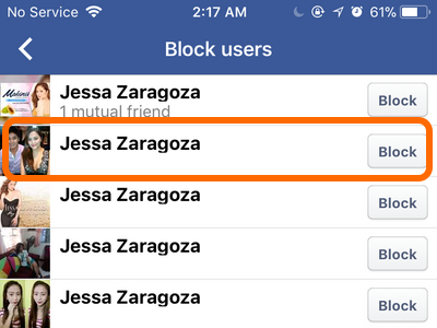 Facebook Mobile Account Block Users Name Results