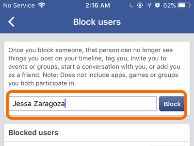Facebook Mobile Account Block Users Name