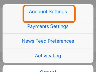 Facebook Mobile Account Settings