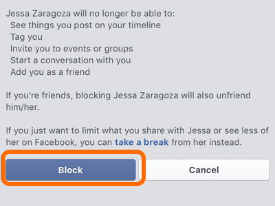 Facebook Mobile App Block Confirm