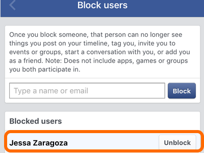 Facebook Mobile App Block Users