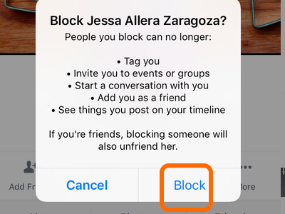 Facebook Mobile More Options Block Confirmation