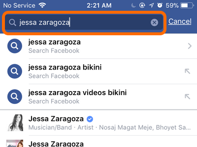 Facebook Mobile Search for User to block