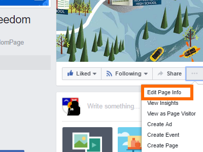 Facebook Page More Options Edit Page Info