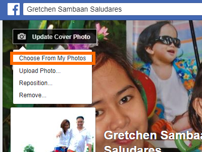 Facebook Profile Edit Cover Choose from My Photos