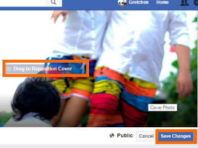 Facebook Profile Edit Cover Drag to Reposition and SAve