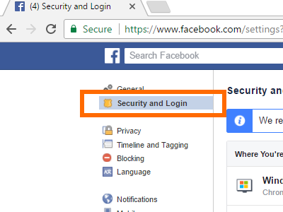 Facebook Security and Login Settings