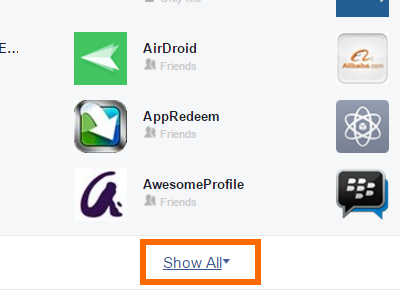 Facebook Settings Apps Show All